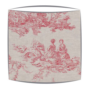 Cabbages and Roses Toile De Poulet fabric lampshade in raspberry