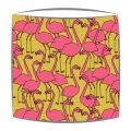 Flamingos Fabric Lampshade in Mustard