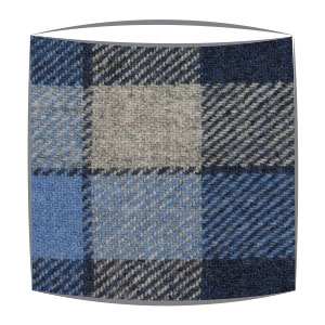 Harris Tweed fabric lampshade in blue tartan