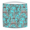 Michael Miller Eiffel Tower fabric  lampshade in Turquoise and white