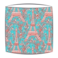 Michael Miller Eiffel Tower fabric  lampshade in turquoise and red