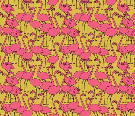 Mustard-Flamingo-Fabric