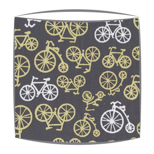 On Your Bike Citron fabric lampshade