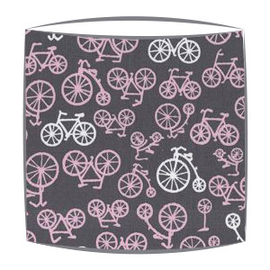 On Your Bike PInk fabric lampshade