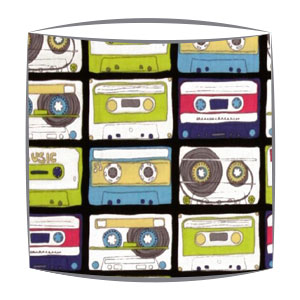 Retro Casettes fabric lampshade