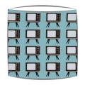 Retro lampshade in Geeky Chic Tv fabric in blue
