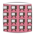 Retro lampshade in Geeky Chic Tv fabric in pink