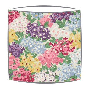 Sanderson Cottage Garden fabric lampshade in blackcurrant and crimson