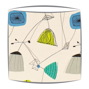 Sandersons Perpetua fabric lampshade in blue & grey