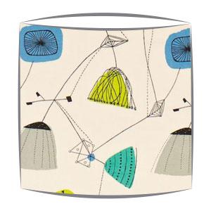 Sandersons Perpetua fabric lampshade in blue & grey