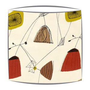 Sandersons Perpetua fabric lampshade in mustard & red