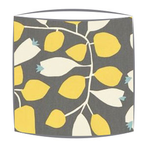 Scion Rosehip fabric lampshade in lemon gull chalk and powder blue