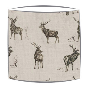 Stag print lampshade deer lampshade custom made to order stag parade fabric drum lampshade mozeypictures Gallery