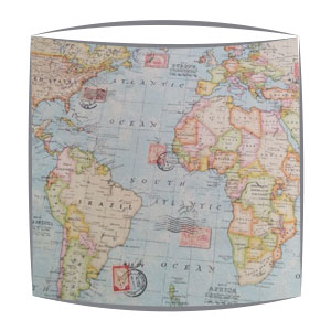 Vintage Map of the World fabric lampshade
