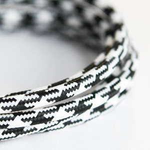 black and white houndtooth fabric lighting cable