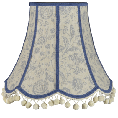 Traditional scalloped lampshade in Cabbages & Roses fabric