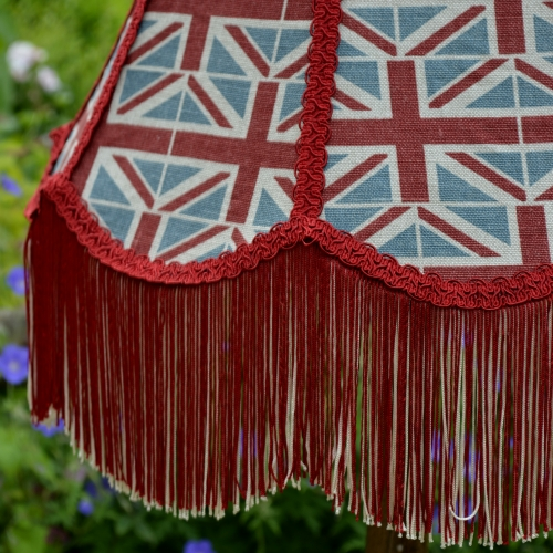 Union Jack Fabric Lampshade with fringe