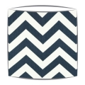 Blue Chevron Zig Zag Fabric Drum Lampshade