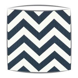 Blue Chevron Zig Zag Fabric Drum Lampshade