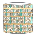 Bon Maison Colombage fabric lampshade in Orange Turquoise & Black