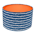 Bon Maisopn Wavy fabric lampshade in navy and white with an orange lining