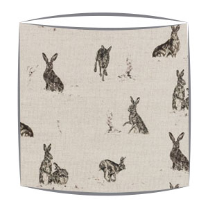 Hare Capers Fabric Drum Lampshade