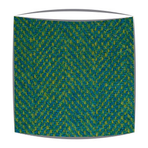 Harris tweed lampshade in yellow and blue herringbone