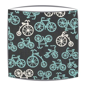 On Your Bike Blue fabric lampshade