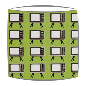Retro lampshade in Geeky Chic Tv fabric in green