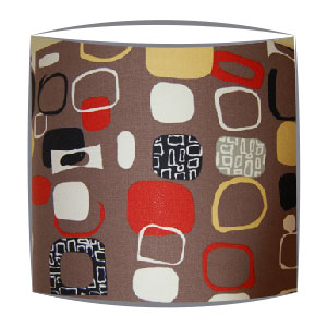 Sanderson festival fabric lampshades in rust & Taupe