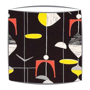 Sandersons Mobiles fabric lampshades in black
