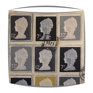 Vintage Stamps lampshade in Grey fabric