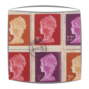 Vintage Stamps lampshade in Mulberry fabric