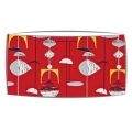 Large oversized lampshade in Sandersons Mobile fabric in red