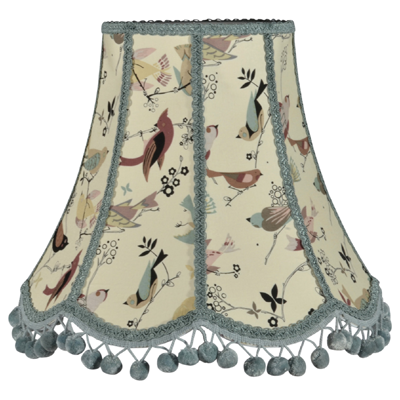 Traditional scalloped lampshade in birds fabric