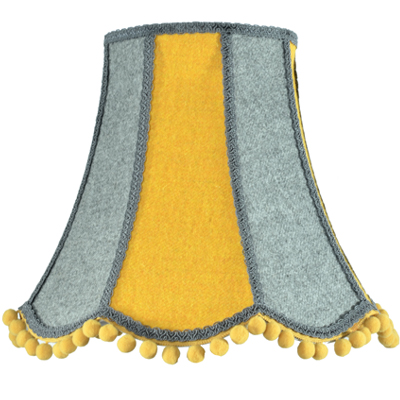 Harris Tweed Scalloped Lampshade in Yellow and Grey